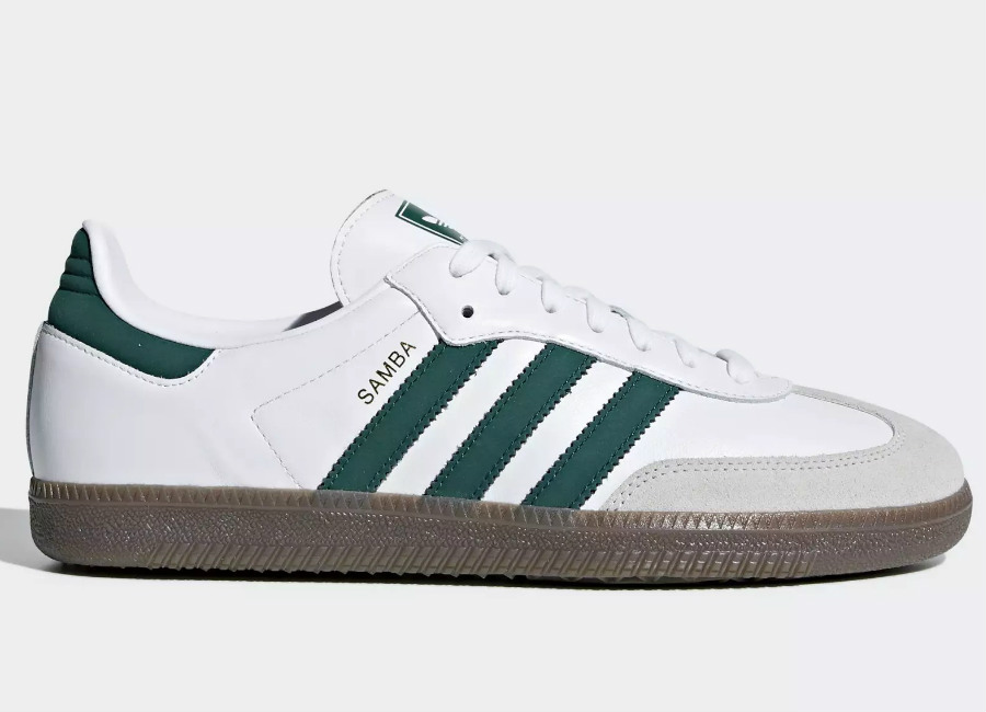 Adidas Samba OG Shoes - White / Collegiate Green / Crystal White