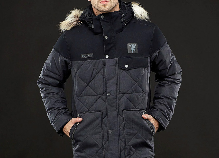 Columbia Manchester United Barlow Pass 550 Turbodown Quilted Jacket – Black