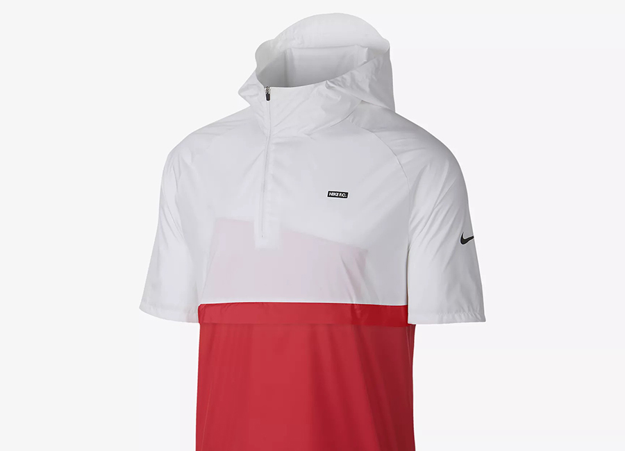 Nike F.C. Short-Sleeve Hooded Football Jacket - White / Light Crimson / Black / Black