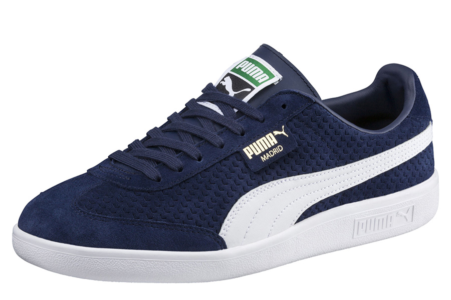 Puma Madrid Perforated Suede Trainers - Peacoat / Puma White / Gold