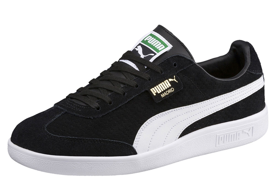 Puma Madrid Perforated Suede Trainers - Puma Black / Puma White / Gold