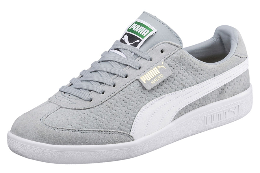 Puma Madrid Perforated Suede Trainers - Quarry / Puma White