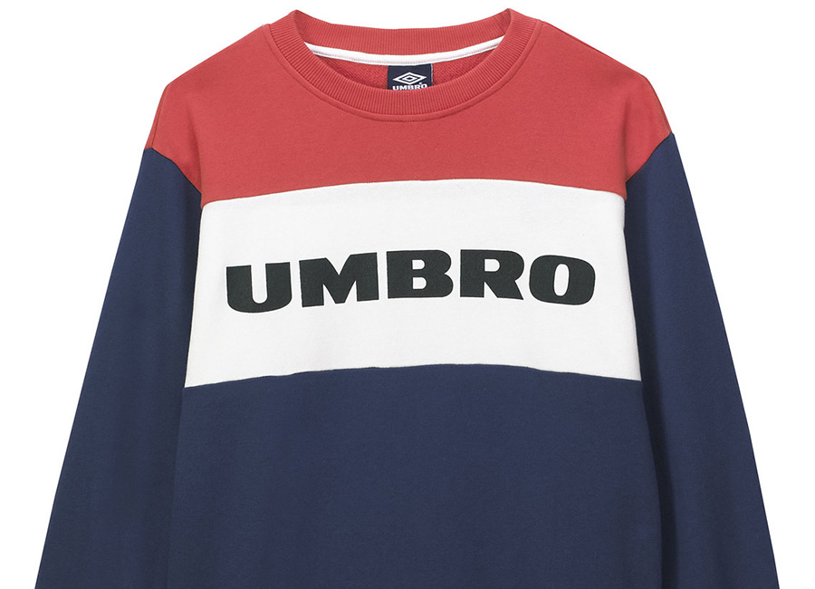 Umbro Block Chest Logo Crew - Navy / White / Red
