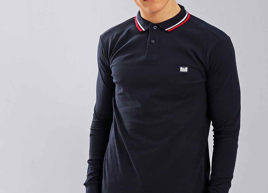 Weekend Offender Ibanez Long Sleeve Polo Shirt - Navy
