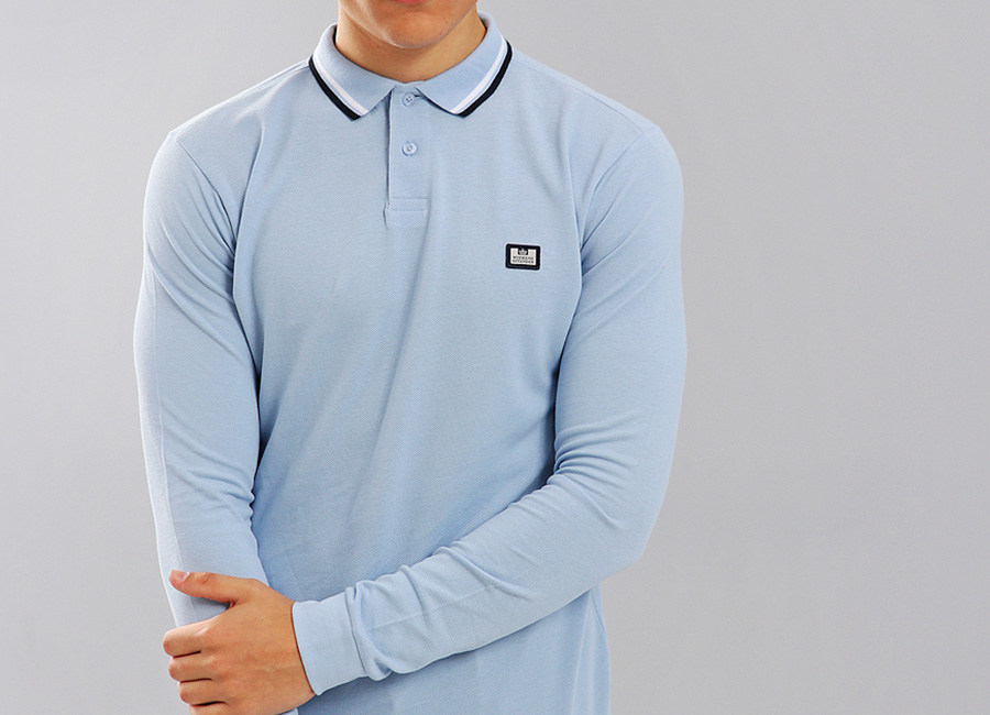 Weekend Offender Ibanez Long Sleeve Polo Shirt - Sky