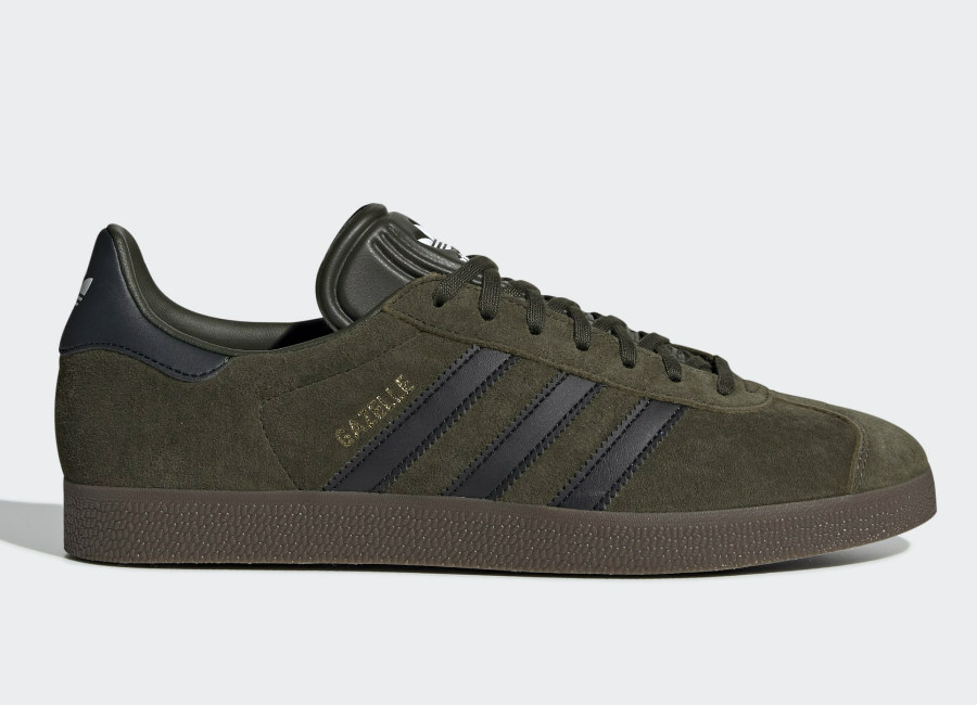 Adidas Gazelle Shoes - Night Cargo / Core Black / Gum5