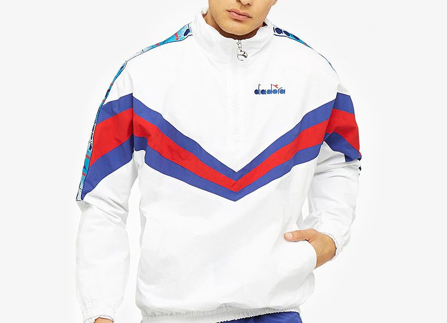 Diadora Jacket 1/2 Zip MVB - Super White / Carmine Red