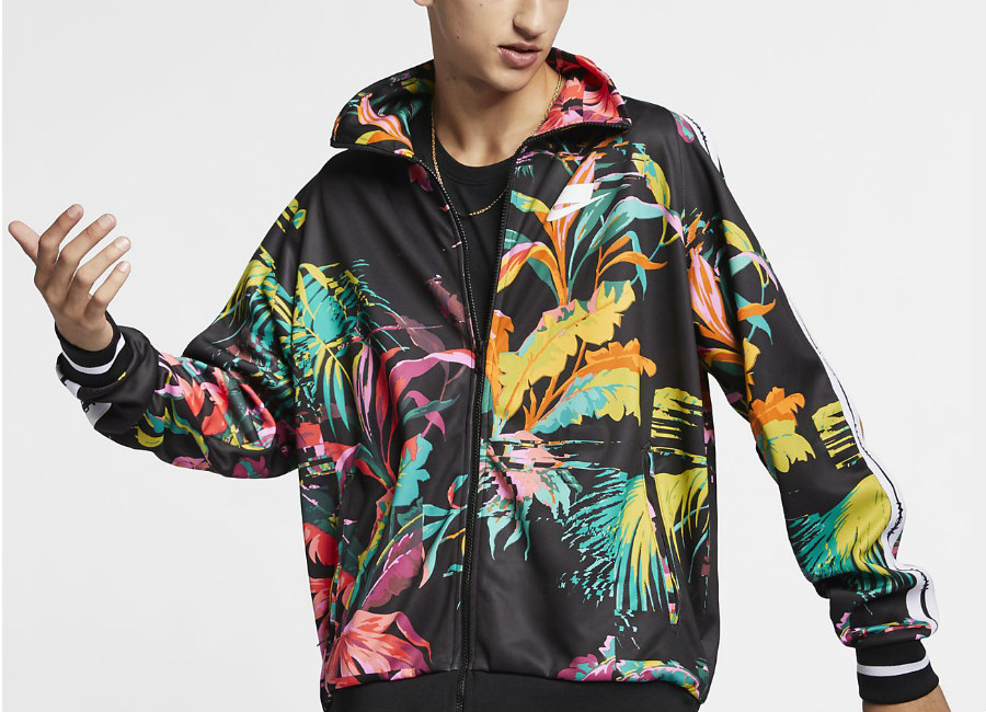 Nike NSW 'Palm Tree' Foldable Collar Track Jacket - Cyber / Black / White