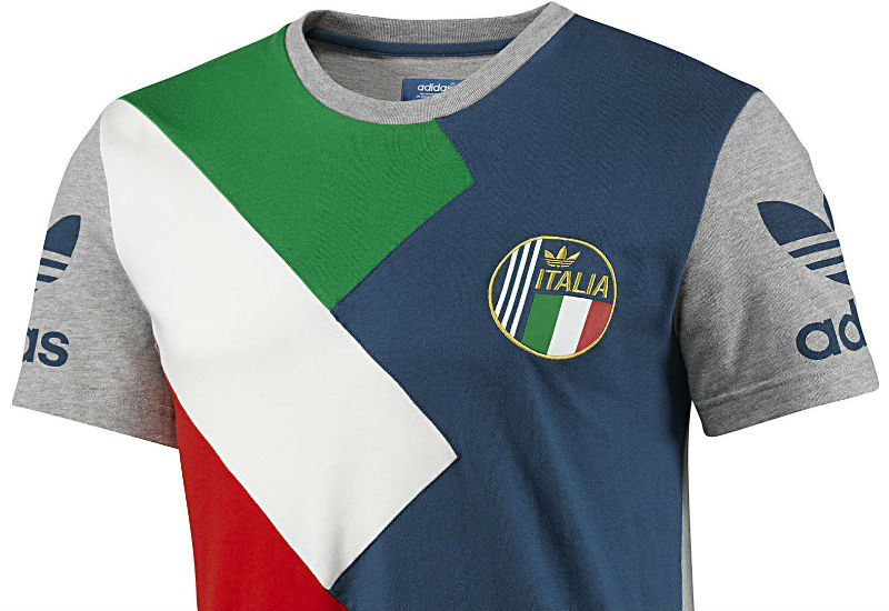 An Adidas t-shirt designed to show bold support of the Italian national team. The all-cotton single jersey Italy Football Tee features flag colours on the chest along with the Italy badge.