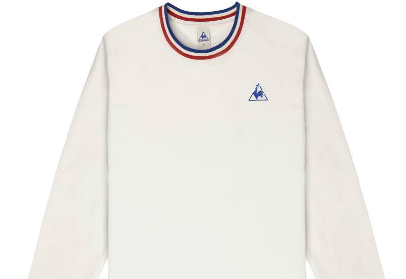 Le coq sportif anglin long sleeves t shirt white blue for Blue and white long sleeve shirt