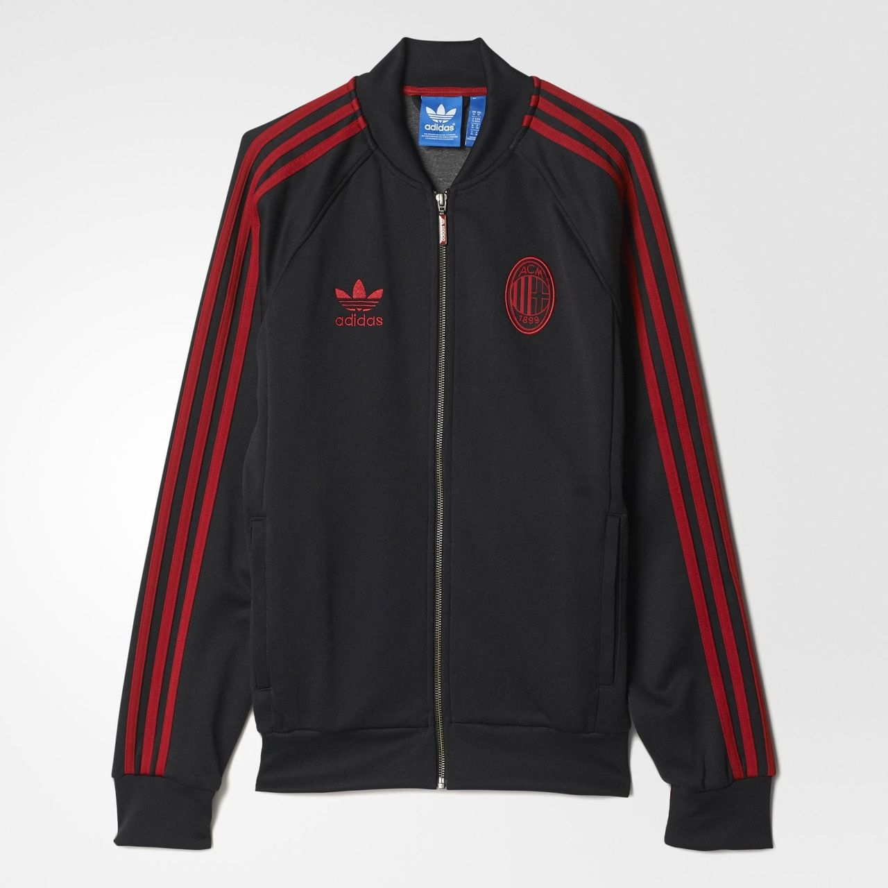 adidas ac milan superstar track jacket black victory red jackets football fashion blog. Black Bedroom Furniture Sets. Home Design Ideas