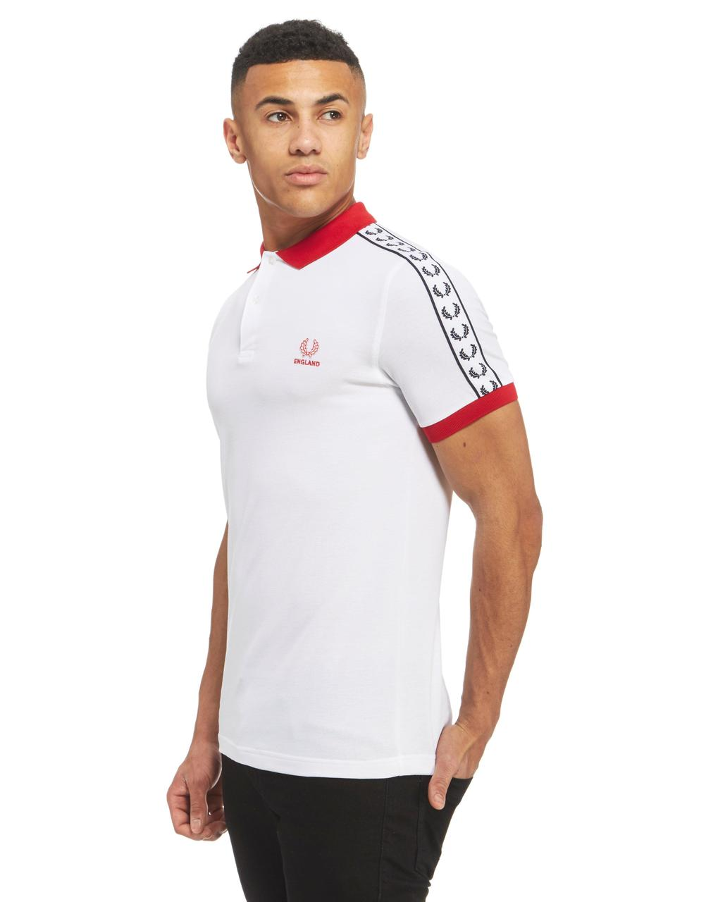 fred perry england tape polo shirt white england red. Black Bedroom Furniture Sets. Home Design Ideas