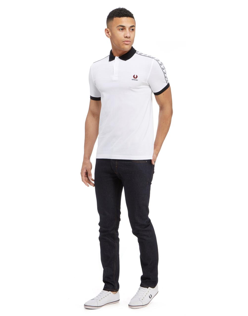 fred perry germany tape polo shirt white black blood polo 39 s football fashion blog. Black Bedroom Furniture Sets. Home Design Ideas