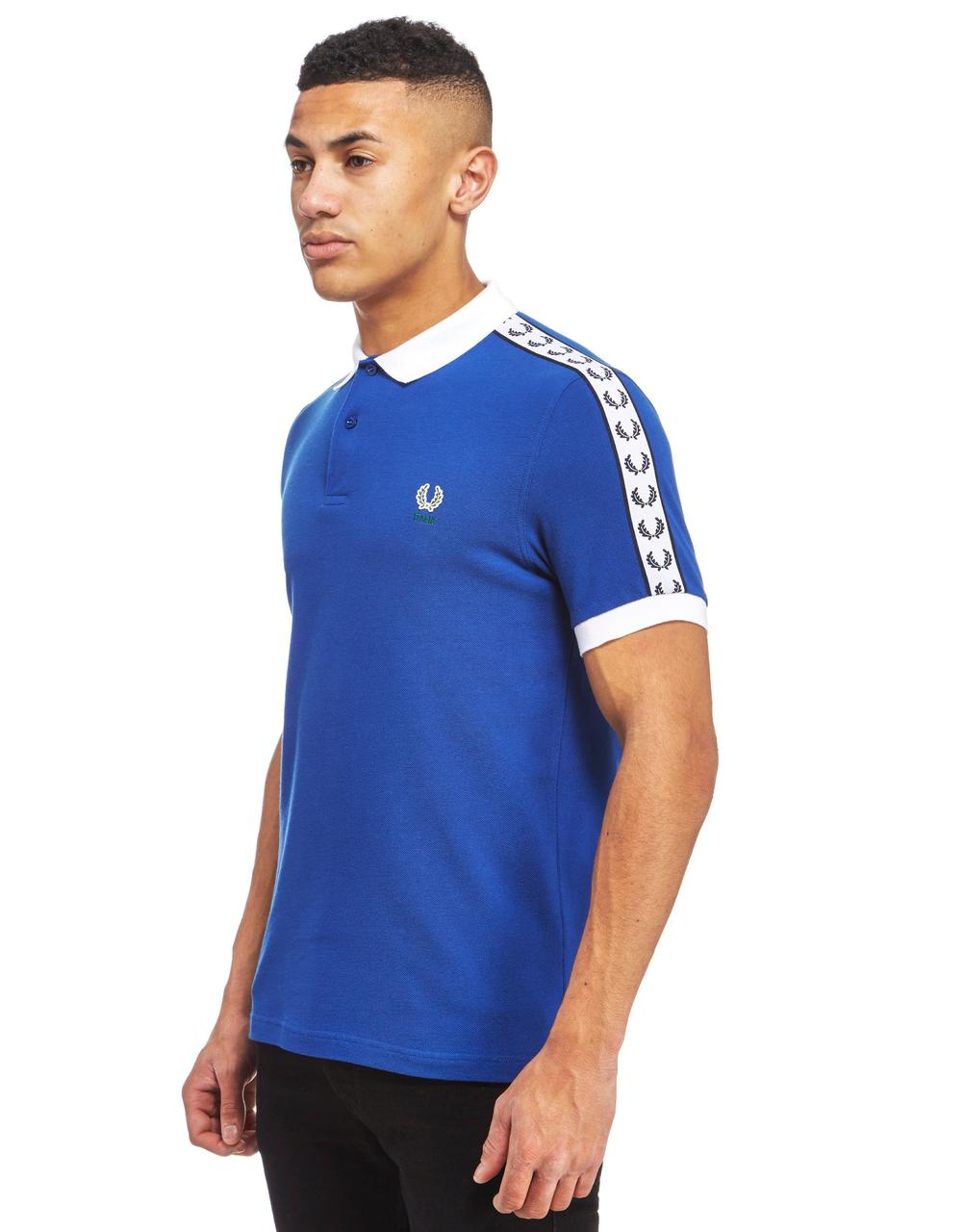 fred perry italia tape polo shirt cobalt white. Black Bedroom Furniture Sets. Home Design Ideas