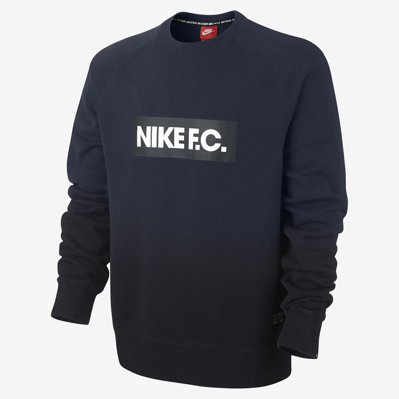 nike f c aw77 crew sweatshirt obsidian black. Black Bedroom Furniture Sets. Home Design Ideas